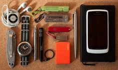 Apple iPod Shuffle 4th gen Thrunite Ti2 flashlight Leatherman Micra Kershaw Leek Traser P5900 with NATO strap Fisher Bullet Space Pen Kersh...