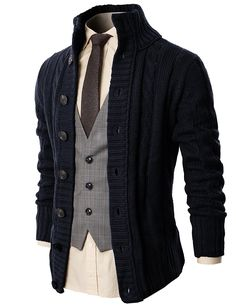 H2H Mens Casual Stand Collar Cable Knit Cardigan Sweater at Amazon Men's  Clothing store  Ropa 5aa8fd28c28f