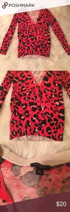 Red leopard Ann Taylor cardigan Great condition. Never worn! Ann Taylor Sweaters Cardigans