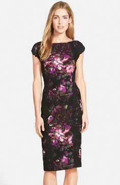 note lace sleeves & panels Maggy London Lace & Crepe Sheath Dress Nordstrom