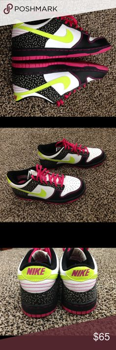 Neon Green&Hot Pink Air Force Ones Neon Green Nike Sign with Hot Pink Shoelaces  There are white Mini Stars that compliment the white on black ensemble  Nike Air Force One  Shoe Size is a 5Y = 7W NWOT  Fast 1-2 Day Shipping Nike Shoes Sneakers