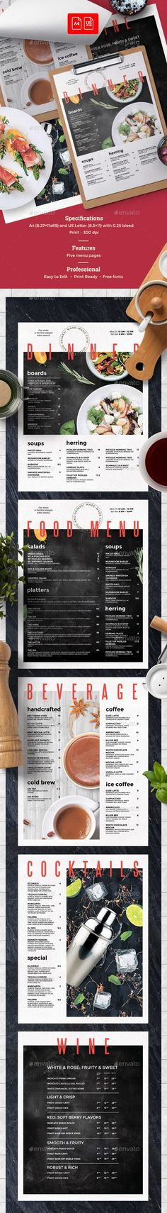 Minimal Menu Template Menu templates, Food menu and Print templates - food menu template