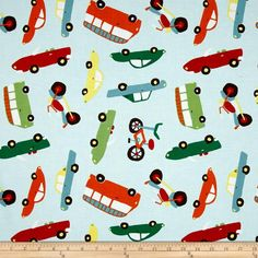 Riley Blake Wheels 2 Road Main Blue from @fabricdotcom  Designed by Deena Rutter for Riley Blake, this cotton print is perfect for quilting, apparel and home decor accents. Colors include brown, green, red, blue, orange, yellow and white.
