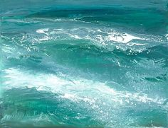 Ocean Waves by Maureen Kerstein. This is a *giclee* print, professionally printed with *archival:archival quality* inks on fine art paper. It is signed by the artist. The artist begins a painting by preparing a mixture of fresh colors on a palette. As the paint is applied to the paper the artist sprays and pours water, allowing it to mix and mingle. The intensity of paint application, water movement, and even the weather can highly influence the direction and final outcome of the painting…