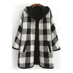 Black White Hooded Plaid Loose Coat ($49) ❤ liked on Polyvore featuring outerwear, coats, tartan coat and plaid coat