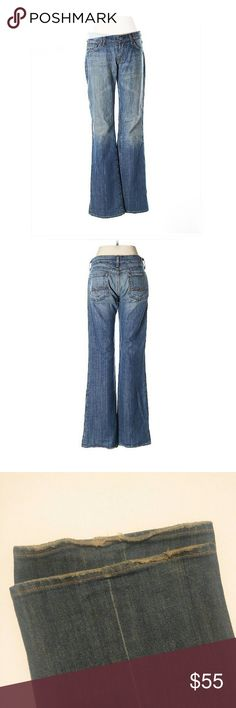 "7 For All Mankind Jeans Boot cut jeans. Low rose waist. Medium to light wash. Zipper closure.   Some minor fraying around bottom hem. See pictures.  Inseam 32"". 7"" rose. 36"" waist.  98% cotton, 2% Polyurethane 7 For All Mankind Jeans Boot Cut"