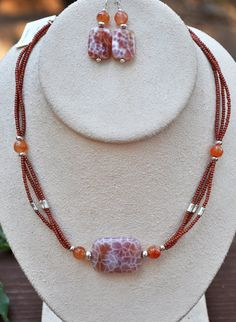 Jewelry - Necklace - Stone necklace and earring set in orange  by JewelryArtByGail