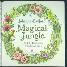 Peta Hewitt Aka La Artistino With The Title Page From Magical Jungle By Johanna Basford Using Polychromos Pencils And A Derwent Artist Green