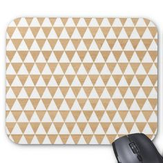 Modern tribal geometric triangle striped studs Andes pattern on a light wood photo background Aztec print mousepad. #geek #gift #geekgift #geekygift