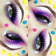 Close up of last nights Candy eyes! Used- @unique_Styles_Boutique 'Rarity' under the brow and inside corner, also used their 'Hello Kitty' pigment on the lid along with @sugarpillmakeup 'Dollipop' and MUFE Purple #92. Liner on the bottom is a blue from my Hello Kitty Charmmy Eye Kohl kit, and top is Mayblline Eye Studio Gel liner. Lashes are 'Dollface' by @houseoflashes !  #makeupbyaprillopes #houseoflashes #sugarpill - @pipsqueeak- #webstagram
