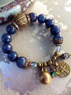 Denim Blue Sapphire Agate Stretch Charm Bracelet ~ Antique brass hardware ~ Cross Thai Brass Bell Charm Bracelet by Country Chic Charms Pandora Bracelets, Pandora Jewelry, Charm Jewelry, Boho Jewelry, Jewelry Crafts, Bangle Bracelets, Beaded Jewelry, Jewelry Accessories, Jewelry Design