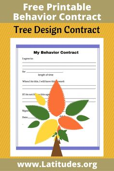 Free Printable Tree-Style Behavior Contract. Helps kids stay focused with their goals and helps parents set expectations.