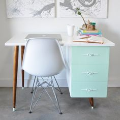This vintage desk went from junky to funky with a little hard work and paint. Click to see the full before and after.