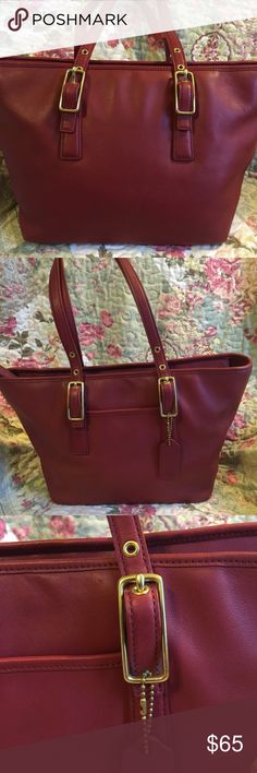 Coach Legacy Gallery West Market Tote Beautiful Coach Red Leather Gallery Tote in great condition, does have a few spots on the bottom . Other than that it's in beautiful condition. This bag was professionally Authenticated by the licensed experts at Authenticators R Us LLC , and comes with a certificate of Authenticity.  Buy With Confidence 💃🏽 Coach Bags