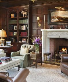 Architectural Details, Neoclassical Home Office, Library | Wadia Associates | Dering Hall Design Connect In partnership with Elle Decor, House Beautiful and Veranda.