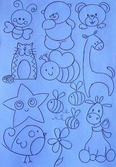 Aqui vai alguns riscos de Desenhos para artesanato e trabalhos manuais com desenhos de bichinhos e ursinhos. Applique Patterns, Applique Designs, Embroidery Designs, Baby Embroidery, Cross Stitch Embroidery, Drawing For Kids, Art For Kids, Felt Books, Baby Design