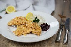 Schnitzel mit Mandelpanade, Schnitzel mit Reis, Rezept Schnitzel,   Schnitzel recipe, schnitzel with almond crust, schnitel with rice, traditional schnitzel recipe