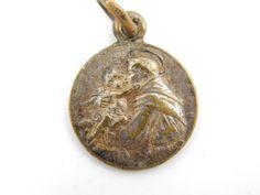 Vintage Saint Anthony Catholic Medal - Religious Charm - Patron St of Animals Medallion - R29 by LuxMeaChristus on Etsy