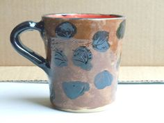 Hand Made Hand Carved Wheel Thrown Ceramic Mug Pottery Mug Black and Red Mug Brown and Black Mug One Finger Hand