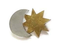 Laton Sterling Silver Star and Moon Pin / Brooch
