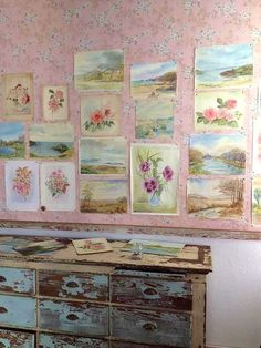 Seaside watercolours and a chippy blue piece of furniture... Inspiration | Rachel Ashwell
