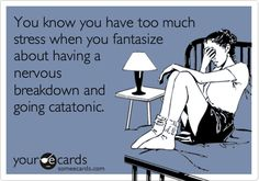 You know you have too muchstress when you fantasizeabout having anervousbreakdown andgoing catatonic.
