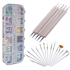 Best Quality Professional Nail Art Set Kit With 1500 Mixed Colors Gemstones In Storage Case And 20pcs Nail Art Designing Painting Dotting Detailing Pen Brushes Bundle Tool Kit: Amazon.co.uk: Beauty