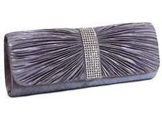 SILVER GREY SATIN AND DIAMANTE ROUNDED HARD BACK CLUTCH BAG, £12.00