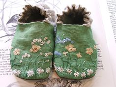 Green linen embroidered shoes. Melissa Wastney