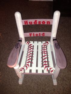 Baseball Child's Rocking Chair by HalliesHeART on Etsy, $125.00