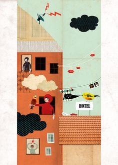 Retro mixed media collage by Mathilde Aubier - L'Affiche Moderne