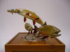 Brook Trout carving by Ron Bailey Trout, Carving, Fish, Wood Carvings, Sculpting, Brown Trout, Cut Work, Sculpture, Salmon