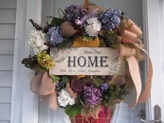 Primitive~Bless This Home~ Door~Wall Wreath~Nest~Bird~Hydrangeas~Bow~Mesh~ Door Wall, Tree Toppers, Hydrangeas, Deco Mesh, Grapevine Wreath, Primitive, Nest, Blessed, Bows