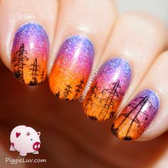 power line sunset nails