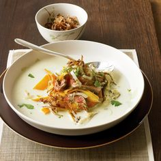 Shallots in Season: Pan-fried until crisp, shallots are served as a crunchy garnish; coconut milk, ginger, plus the heat of jalapeno add up to Asian flavor.