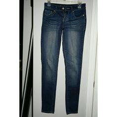 Deep Blue Denim Jeans Like new blue denim jeans,  size 3 Regular length. Wet Seal Jeans Skinny