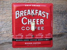 1950s Kitchen Decor Vintage Breakfast Cheer Coffee Tin Switch Plate SP-0005 on the new site 11 Main, take a look!