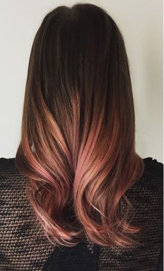 brunette, pink, and balayage image