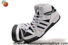 Latest Listing Cheap Adidas X Jeremy Scott 3 Tongue Shoes White Black Fashion Shoes Shop