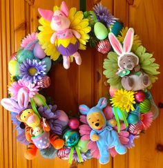 Disney Inspired Winnie the Pooh and Friends Easter/Spring Wreath from WreathsWithCharacter @ etsy