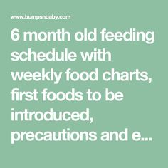 6 month old feeding schedule with weekly food charts, first foods to be introduced, precautions and everything you wanted to know while feeding 6 month old