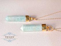 Amazonit Spitze - lange Kette, Pastell Aqua Blau    by Tifany-Jewelry