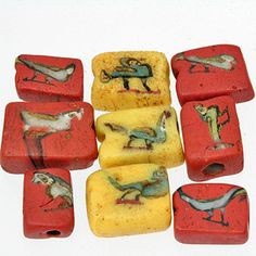 Ancient Mosaic Glass Face & Bird Beads - exquisite miniature masterpieces of ancient glass bead making. Roman Period. Perforation: 1.5 - 2mm. Size: Range 7.5 x 5mm - 11 x 9.5mm. Via SKJ Ancient Bead Art