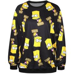 Black Cartoon Print Long Sleeve Sweatshirt ($19) ❤ liked on Polyvore featuring tops, hoodies, sweatshirts, shirts, black, extra-long-sleeve shirts, loose fitting shirts, loose fit shirt, cut loose shirt and round neck shirt