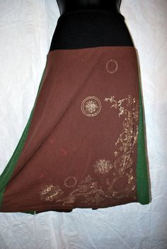 Green and Brown upcycled tee shirt skirt by oreomocha on Etsy, $28.00