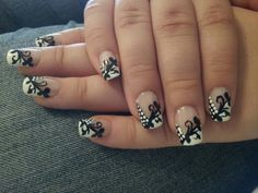 Elegant black and white nails that I did for homecoming :) design by Robin Moses, check her YouTube page out!