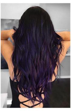 Dark Purple Hair Color, Hair Color For Black Hair, Cool Hair Color, Black To Purple Ombre, Indigo Hair Color, Dark Purple Highlights, Dark Violet Hair, Gray Hair, Purple Velvet