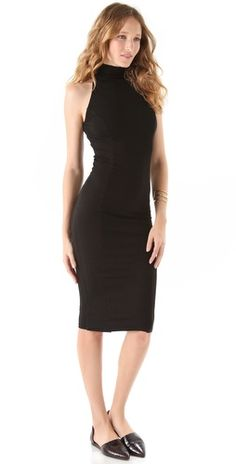 Kelly Bergin Sleeveless Seamed Turtleneck Dress