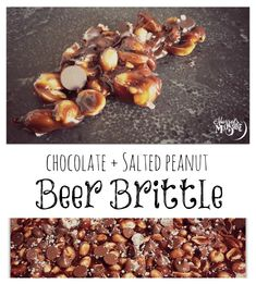 Chocolate + Salted Peanut Beer Brittle, made with a stout of your choice! Perfect DIY holiday gift for the men in your life!
