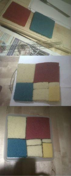 piet mondrian cake step by step!